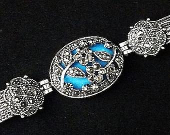 """Art Deco Marcasite Link Bracelet Blue Art Glass Silver Metal Chains 7 1/4"""" Vintage"""