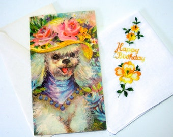 Vintage Birthday Gift 1960s Unused Greeting Card (Dog Dressed Up for Tea) and Coordinating Collectible Hankie Happy Birthday Handkerchief