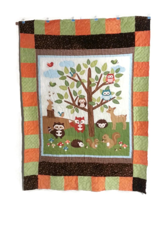 Forest Friends Finished Minky and Flannel Baby Quilt, Nursery Quilt, Cuddle Quilt, 42 x 60, Crib Quilt,  Baby Boy,
