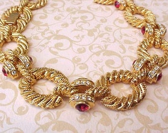 "Lovely Vintage Costume Jewelry Bracelet with Scarlet Red ""Jewels"""