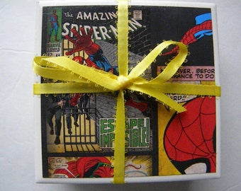 Spiderman Drink Coaster Set of 4  Great Gift Idea!  Ready to ship item!