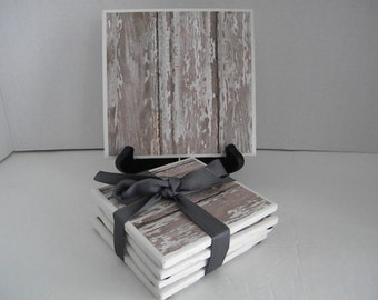 Distressed, Barn Wood Rustic, Washed Shabby Chic Looking Trivet & Set of 4 Drink Coasters Great Gift Idea!