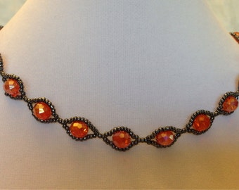 Orange Crystal and Gunmetal Woven Necklace