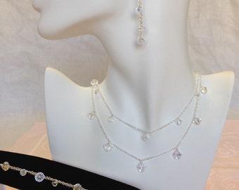 925 Double Strand Swarovski Crystal Necklace, Bracelet, and Earring Set