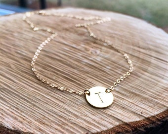 Personalization Initial Necklace - Hand Stamped Custom Initial Drop - Unblackened