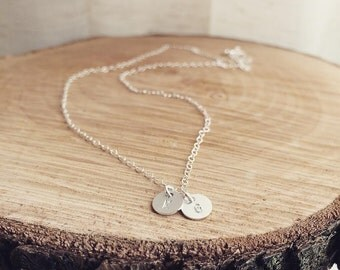 Tiny Two Sterling Silver Custom initials Necklace - Silver Initials Necklace - Personalization Gift - Mothers Gift, Best Friends, Wife Gift
