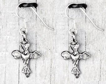 Heavens Heart Earrings- Religious Jewelry- Cross Earrings  - E877