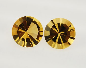 5.08 Ct Natural Golden Citrine Gemstone Diamond Faceted Round Size 12 mm