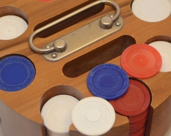 Vintage Poker Chip Caddy with Lazy Susan Felt Covered Base and Sewn Faux Leather Cover