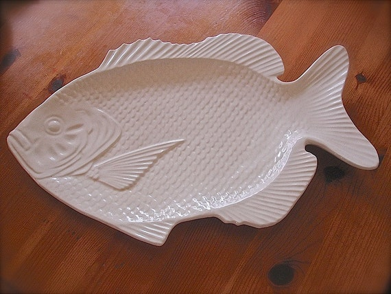 Large white fish sushi plate white fish ceramic by bequeath for Fish serving platter