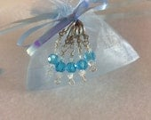 Blue Raspberry Ice Dangle Stitch Markers - Set of 5 -  Crystal Stitch Markers, knitting Tools, Gift for Knitters, Stitch Marker Sets