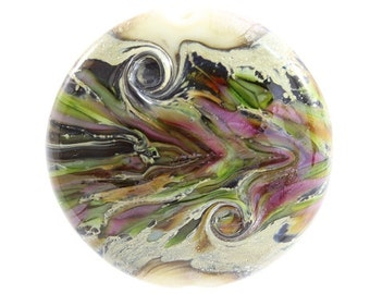 Lampwork Bead Handmade Lentil Shaped Focal Bead Marble Organic Black Silver Ivory Cream Purple Orange Green SRA