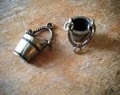 Bucket Antique Bronze Vintage Style Wooden Buckets Water Pail Pendant Charm Jewelry Supplies (B023)