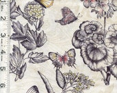 Benartex Fabric - Savannah - Floral Meadow - Antique/Black - Out of Print - Choose Your Cut 1/2 or Full Yard