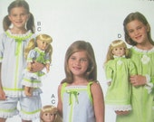 """Butterick 6125 Girls Pajamas with matching 18"""" Doll Clothes Sizes 6-8"""