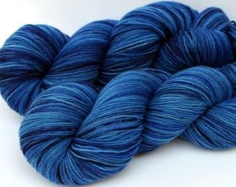 "September Birthstone Yarn, Kettle Dyed Superwash Merino, Nylon and Stellina Fingering Weight, in ""Sapphire"""