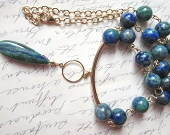 Chrysocolla Lapis Necklace with Gold Filled Tube Bail, Circle, Wire, Clasp and Chain