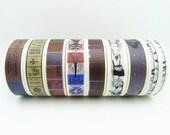 Japanese Washi Tape Set of 8 Rolls - 15mm x 7m Assorted Masking Tape Craft Tape