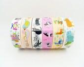 Cute Plastic Tape Set of 6 Rolls - 15m,Animal Tape,Circus Tape,Diary Tape