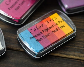 1 Pcs Rainbow Color Fingerprint Wedding Tree Ink Pad - Craft Colorful Ink Pad - Fingerprint Inks