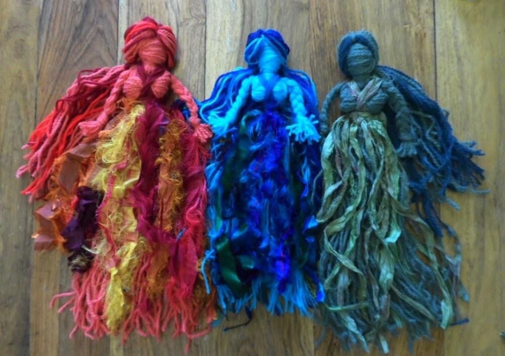 Pagan Earth Fire Water Spirit Goddess Dolls Handmade