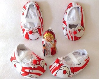 SALE NB/Inf Santa Crib Shoes ....Christmas, Santa Shoes, Partywear, Photo Prop, Reindeer, Elf