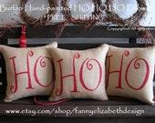 Burlap Christmas Pillows-FREE SHIPPING-Ho Ho Ho Pillows-Burlap Pillows-Rustic Christmas Pillows-Burlap Christmas-Burlap Decorations
