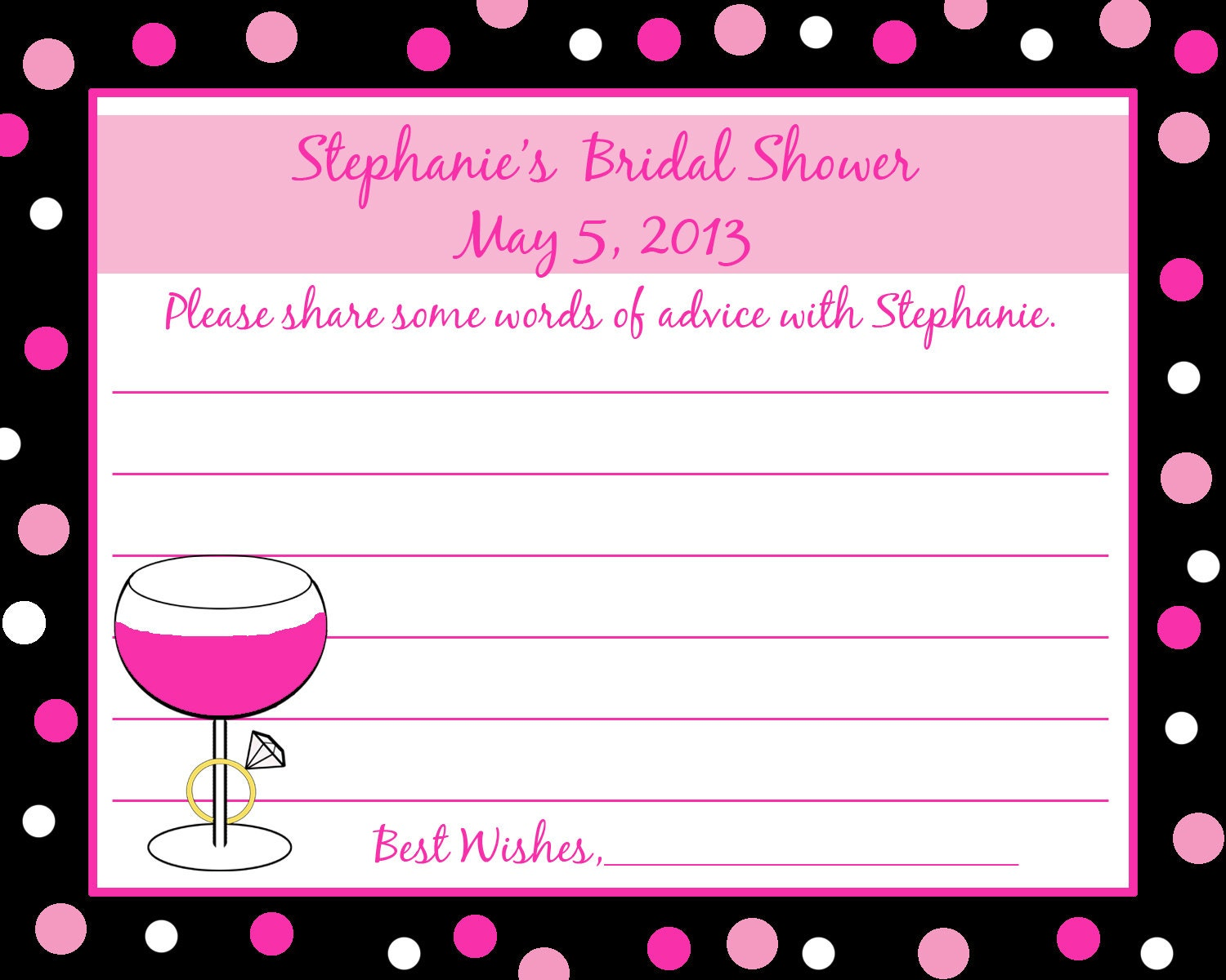 personalized bridal shower advice cards wine and rings