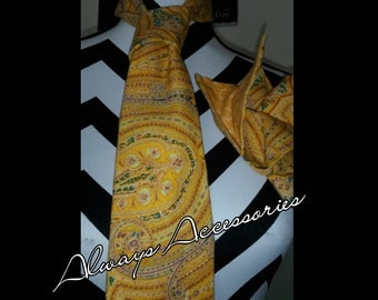 Yellow Paisley Tie Set