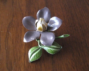 Vintage enamel flower broach.  Retro brooch.  Purple and green.