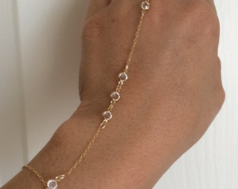 Tiny Swarovski Crystal Gold Hand Chain Bracelet Harness also in Silver and Rose gold fill