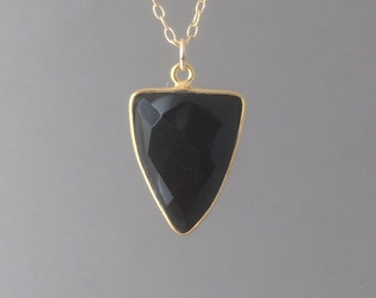 Gold Black Onyx Triangle Necklace