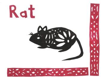 SALE Batik Fabric Collage Art Chinese Zodiac Animal Year of the Rat Art Print