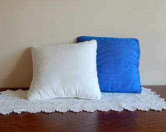 "Vintage Boudoir Pillows 13"" Square Silk Shantung Blue Bedroom Throw Pillows  Nettle Creek"