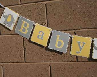 Elephant Baby Shower Banner . Yellow,White and Gray. New Baby, Gender neutral, Celebration.