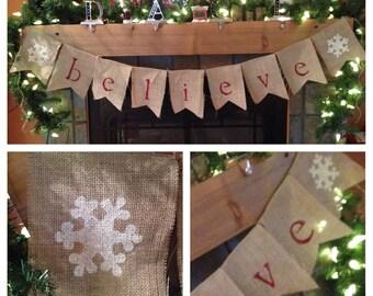 Burlap Believe Christmas Snowflake bunting banner garland
