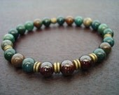 Men's Balancing Mala Bracelet // Indian Bloodstone, Garnet Kundalini Mala Bracelet // Yoga, Buddhist, Meditation, Jewelry