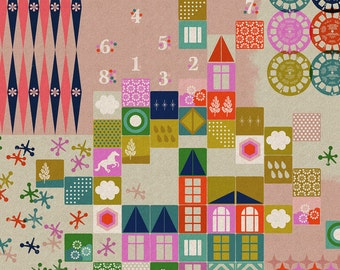 Playful - Playroom - Pink - CANVAS - 0017-12 - 1/2 yard, Additional Available