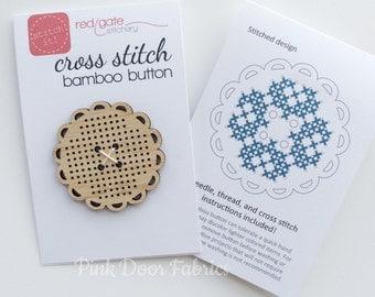 Red Gate Stitchery - Cross Stitch Button - Bamboo Blank, Needle and Quick Start Guide
