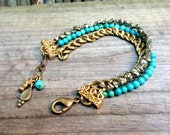 Gloria - Layered Turquoise, Pyrite, and Gold Chain Bracelet