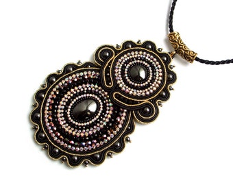 Soutache statement necklace pendant - elegant, shiny black & gold, unusual - Back in Black