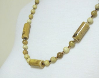 Brownish Yellow Agate with three ceramic tubes and amber sparkly spacers