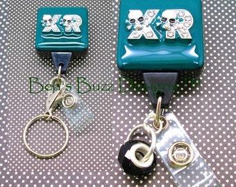 X-ray SKULLS  - X-Ray Retractable Badge Holder - Radiology Badge Reel - X-ray Tech Badge - Designer Badges