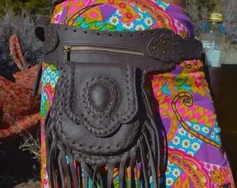 Black leather leather  fringe hip belt