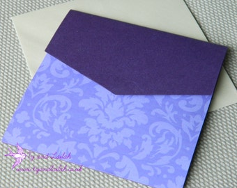 Wedding Invitation Purple Damask Collection Pocketfold Style