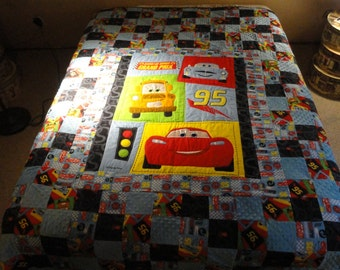 CARS!  Lightning McQueen and Mater TWIN Size Handmade Quilt.  Blues, Reds, Greens and Black Applique and Patchwork Quilt.