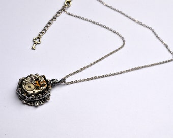 Steampunk Hamilton vintage watch movement necklace