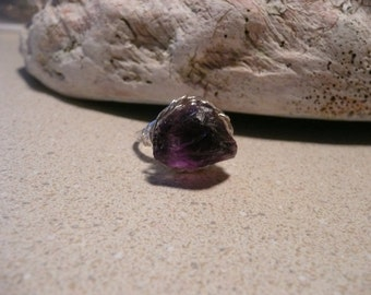 Large natural rough Amethyst silver ring-sz 8-FREE SHIPPING-