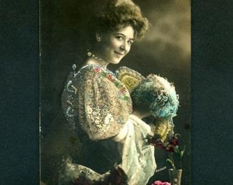 Vintage German Tinted Real Photo Postcard Pretty Glamour Woman Gerlach Studio