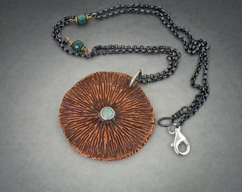 Sale:Copper and Silver Mandala Reversible Necklace
